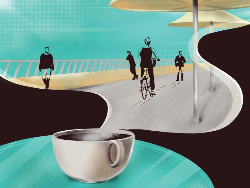Coffee In Tel Aviv Port characters creative port tel aviv ipad pro procreate app coffee cup illustration