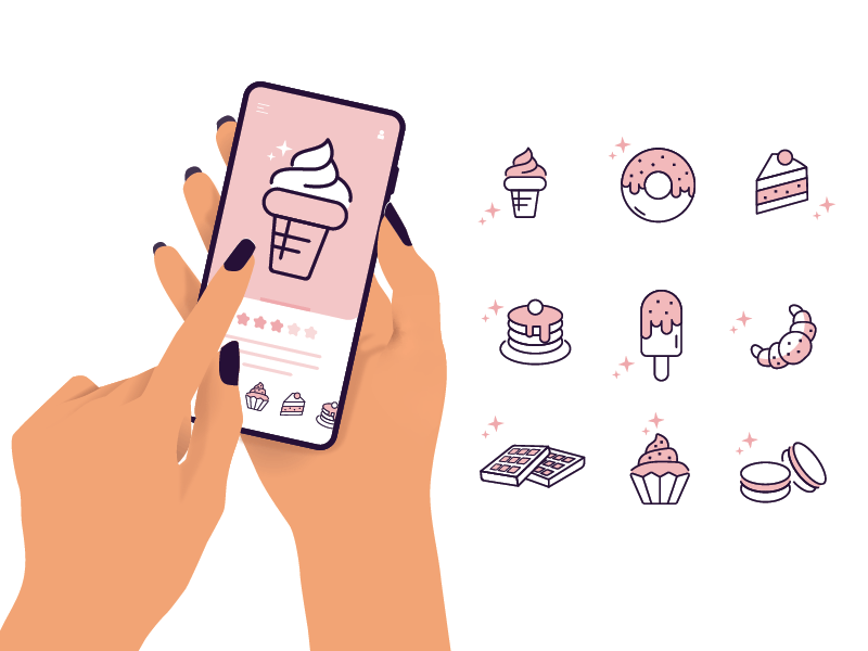 Sweets Line Icons doughnut pancakes muffin cake ice cream illustration line icons icon set sweets ux ui vector app