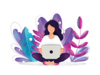 woman working in nature illustration