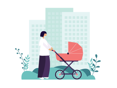 illustration combinations backgrounds leaves woman dancer baby stroller yoga combinations animation movement design character vector illustration
