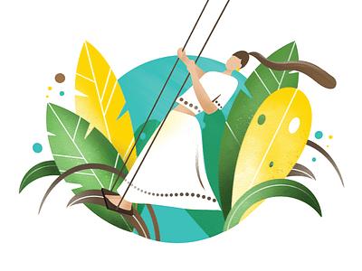 woman on a swing tropical swing leaves woman procreate app ipad pro illustration
