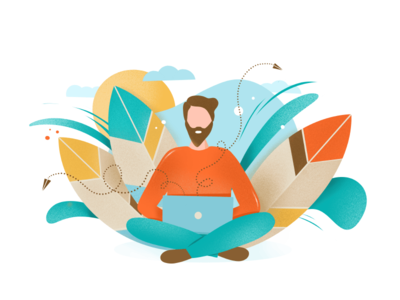 Man working in nature illustration laptop work mail send leaves nature man character procreate app ipad pro illustration