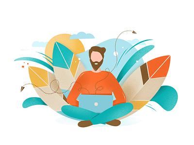 Man working in nature illustration laptop work mail send leaves nature man character procreate app ipad pro illustration