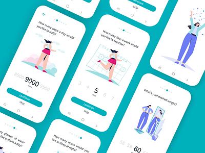 Goal setting process sleep weight exercise ui ux app fitness health goals process illustration animation