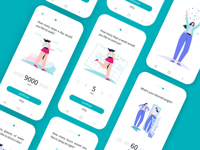 Goal setting process sleep weight exercise ui ux app fitness health goals process illustration animation
