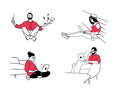 working with laptop doodles illustrator ipad pro doodles woman man laptop working character design vector illustration