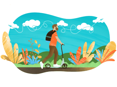 a man riding a scooter to work riding thoughts man nature leaves scooter procreate app ipad pro illustration