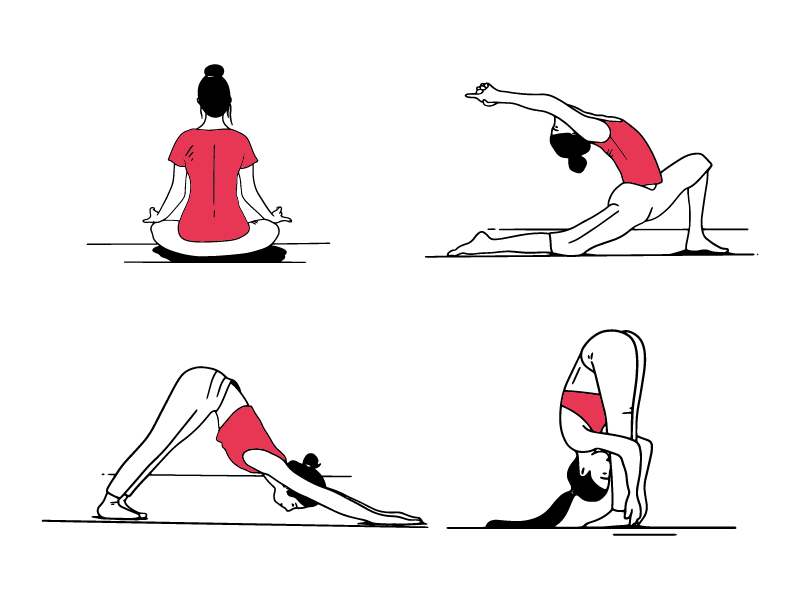 Dribbble Yoga Poses Illustrations Png By Einat Bonshtein