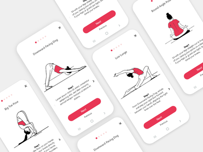 Yoga Poses Illustrations ipad pro design yoga yoga pose woman ui app vector illustration
