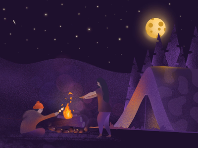 Night campfire movement night camp fire man woman procreate app ipad pro animation illustration