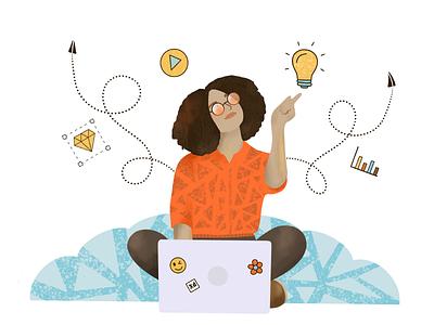 Woman working with laptop illustration creativity design creative woman girl laptop working idea procreate app ipad pro illustration