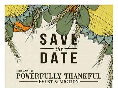 Powerfully Thankful Invitation invitation illustration graphic design design