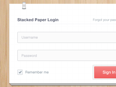 Stacked Paper Login [reworked] login stacked button checkbox flip paper reworked