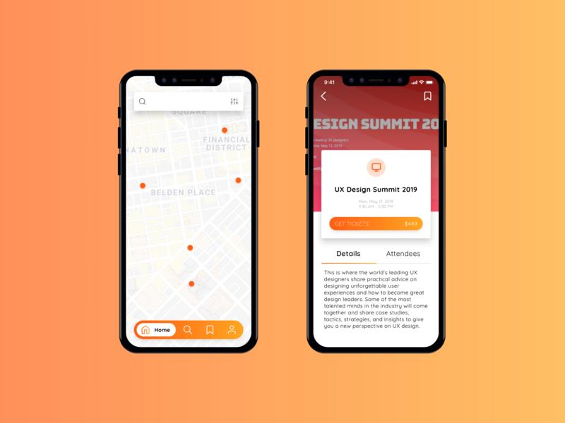 Event App design ux ui mockup mobile material icons gradient cards ticket event app