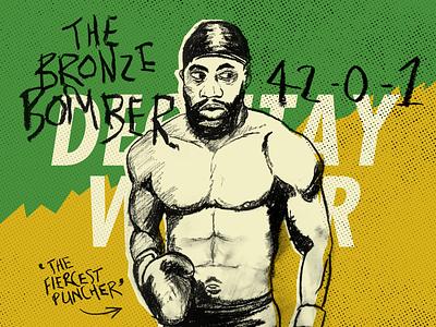 Deontay Wilder Illustration hand lettering handlettering type sport boxing handmade chalk illustration