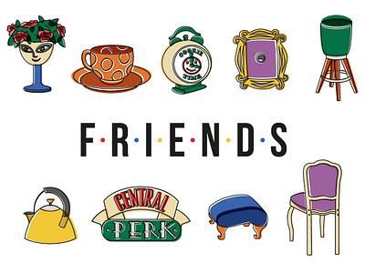 Friends furniture friends tvshows tvseries netflix illustrator icon illustration vector graphic design diseño design