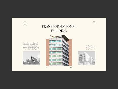 Transformational Bulding photography website design web ui typography slider minimal architecture
