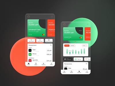Finance: mobile app, UX/UI Design glass wallet banking finance mobile app ux ui design