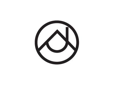 A and J Monogram logo logo branding agency a j monogram real estate house chimney mountain range