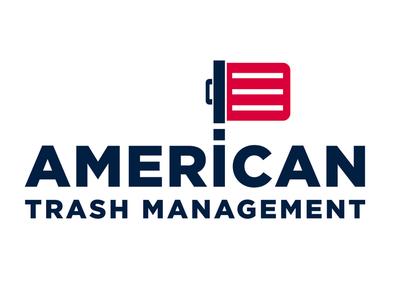 American Trash Management refuse garbage b2b logo flag trash
