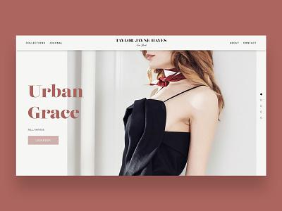 Taylor Jayne Hayes fashion home page design portfolio logo design branding web design website design ui