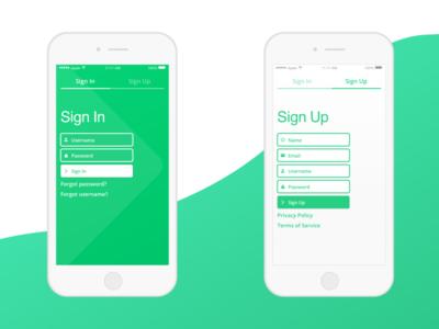 Sign In/Up sign up sign in app design ui