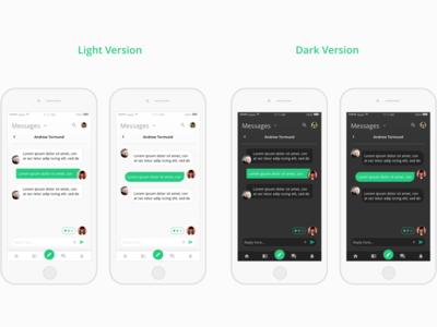 Messages Screen (light and dark version) messages mobile app design