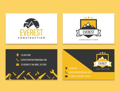 Everest Construction Business Card business card design