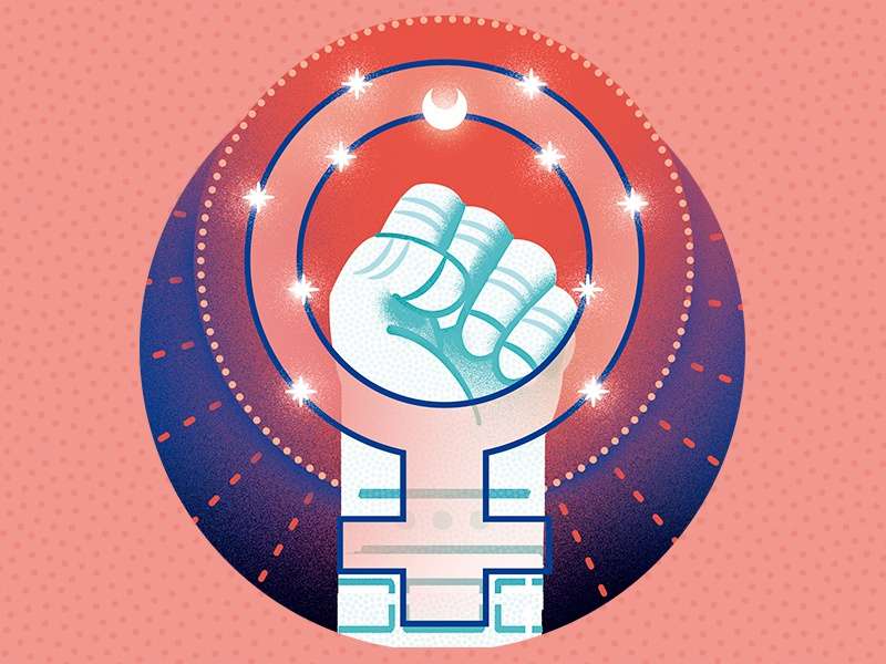 Antimateria - Galileu Magazine girlpower space science illustration girl woman feminism editorial