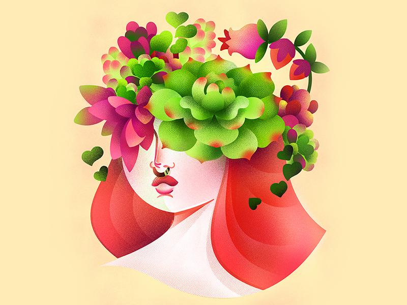 Self Portrait spring women garden botanic girl woman succulent cactus flower botany