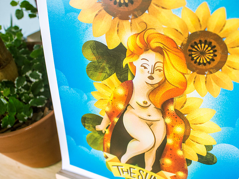 Tarot Card ☀ The SUN ☀ arcana poster sunflower feminism girl lady woman mystic magic card sun tarot