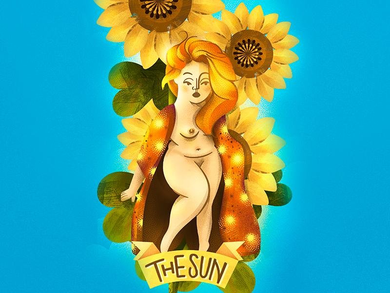 Tarot Card ☀ The SUN ☀ feminine girl woman garden card sunflower sun tarot arcana illustration