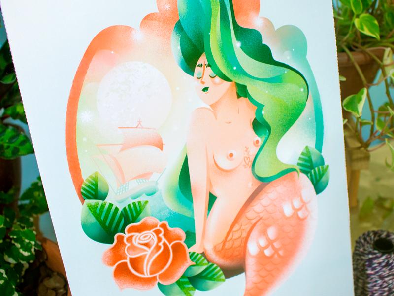 Mermaid illustration green tattoo ocean girl feminine women woman mermaid