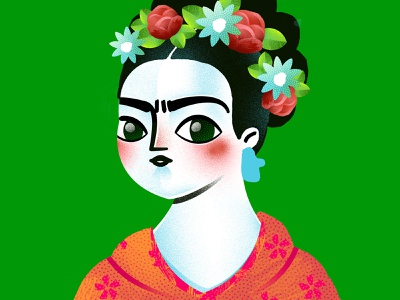 Fridah Kahlo female feminism girl woman art flowers digital portrait frida illustration