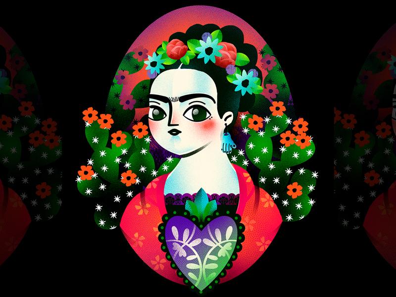 Frida Portrait flower character girl character woman cactus fridakahlo portrait digital illustration