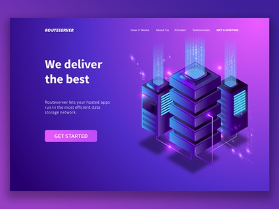 Routeserver Landing Page design pink vector blue neon modern homepage technology website web illustration isometric ux ui landing page
