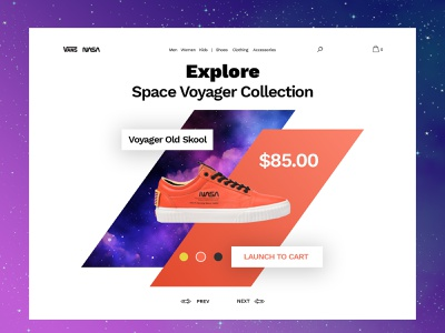 Vans x Nasa Shop Landing Page fan-art teaser shop ux ui branding space illustration vans nasa landing page ecommerce