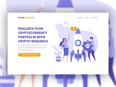 Cryptoaccelerate orange violet consultation accelerate gear rocket web saas vector app branding landing page illustration design ux ui