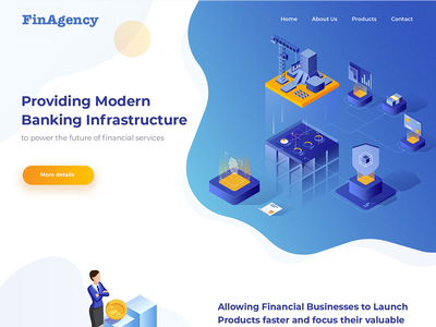 Financial Services Landing Page lettering type website icon typography logo mobile ios android web isometric saas app vector landing page branding illustration design ux ui
