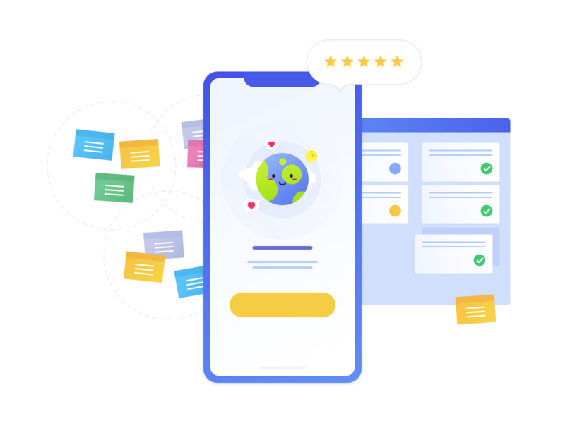 Cover illustration for a agency's website design illustration agency mobile task postit iphonex earth scrum kaban ui design app app application project cover website sketch