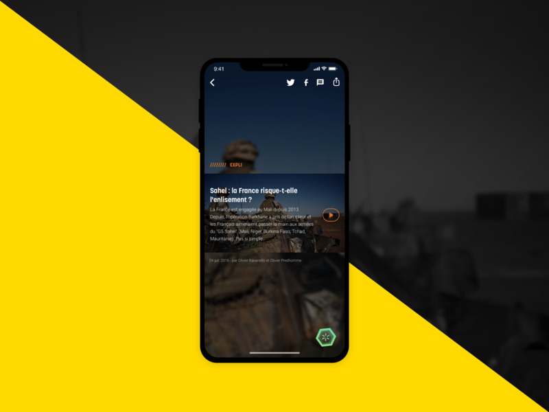 Video page for a mobile news application iphonex share interface icons sketch ux ui ux design ui design news app news media design mobile app design application mobie