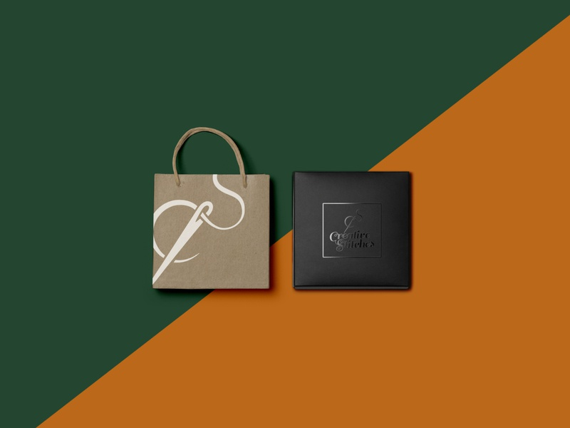 Creative Stitches Brand Identity paper bag thread needle orange green mockup icon font logo branding minimal identity adobe illustrator 2d design daily