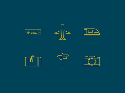 Travel icons icons line icons travel plane train camera suitcase ticket directions