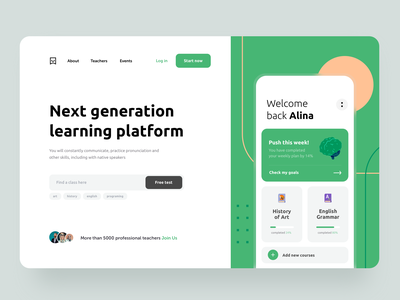 Learning Platform teachers student platform product learn knowledge lessons education 2d vector ios app concept application mobile design ui ux