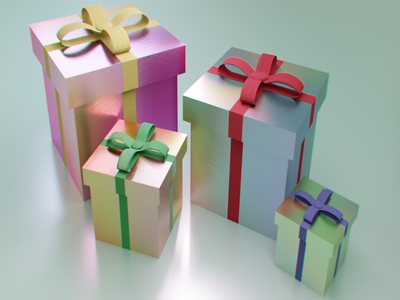 Iridescent Wrapping Paper gifts presents christmas graphics illustration cg shaders iridescent blender 3d