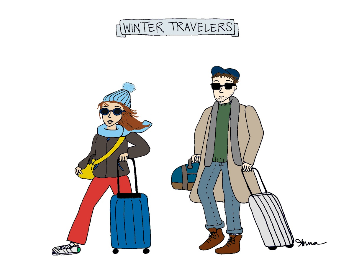 Winter Travelers suitcase character creation character drawing illustration vacation holiday holidays travel travelers winter