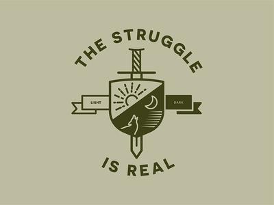 Struggle Is Real real dark night light day struggle illustrator illustration icon