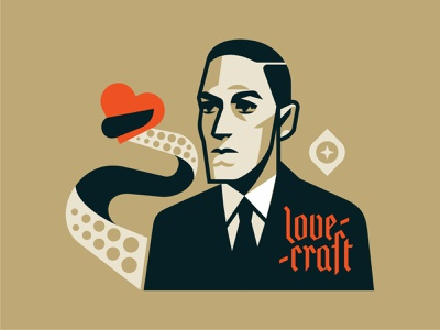 LOVEcraft cthulhu h. p. lovecraft writer literature geometric valentine day valentine dribbbleweeklywarmup love horror lovecraft emblem vector design character illustration