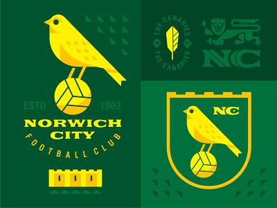 Norwich City FC england geometric lion bird canaries premier league norwich city football emblem logo vector design character illustration