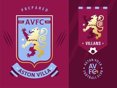 AVFC astonvillafc avfc lion premier league football emblem logo vector design illustration